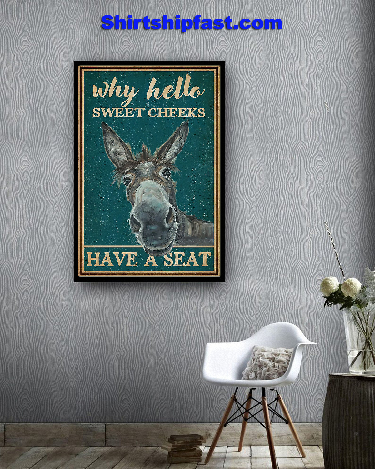 Donkey bathroom why hello sweet cheeks poster - Picture 3
