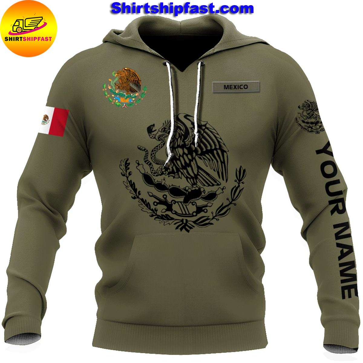 Eagle mexican customize all over printed hoodie