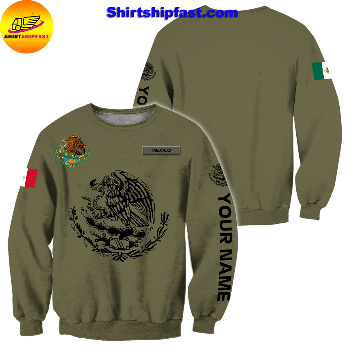 Eagle mexican customize all over printed sweatshirt