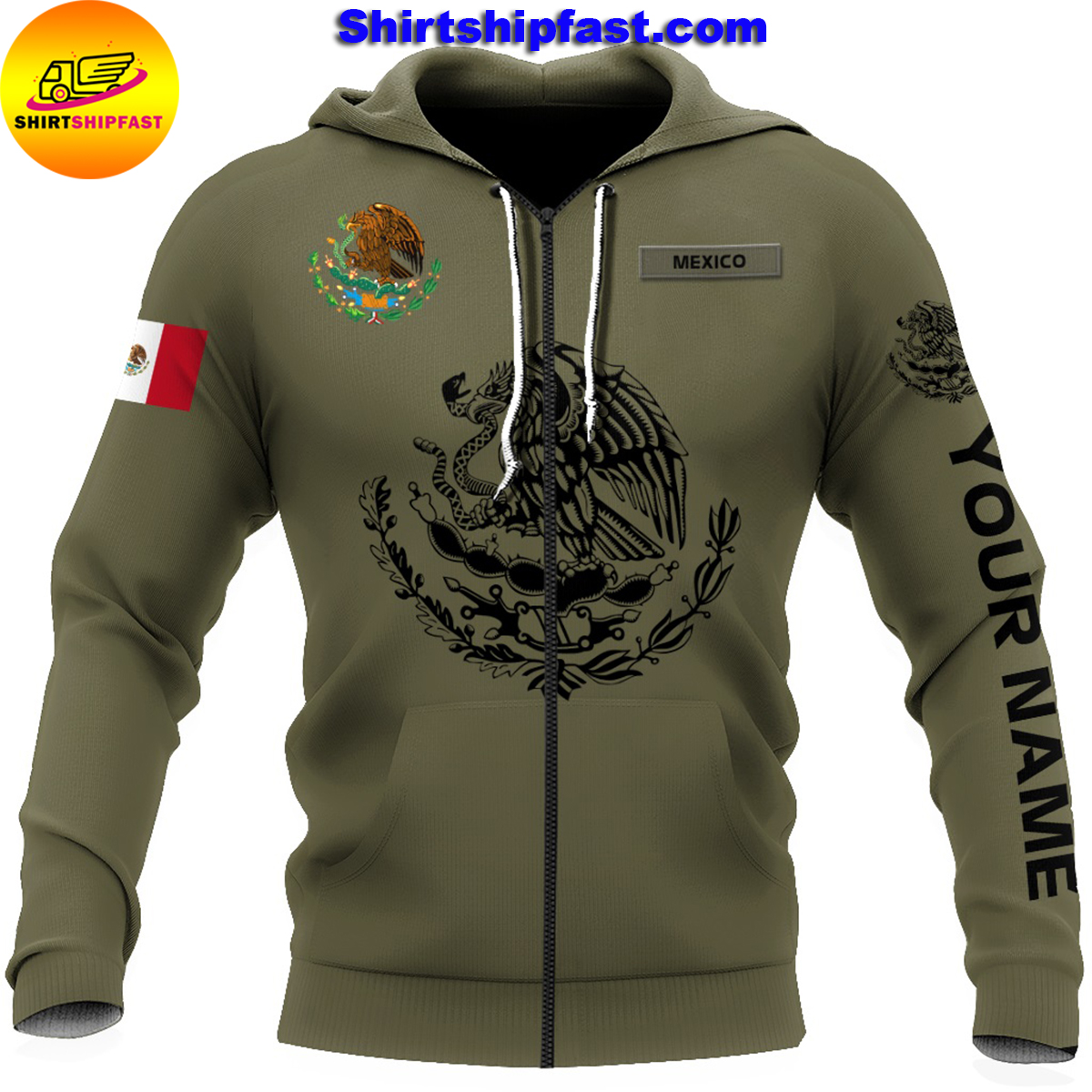 Eagle mexican customize all over printed zip hoodie