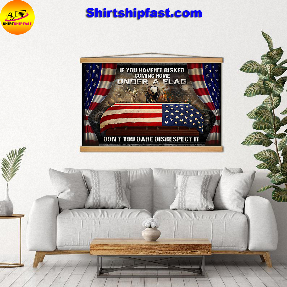Eagle veteran under a flag poster - Picture 1