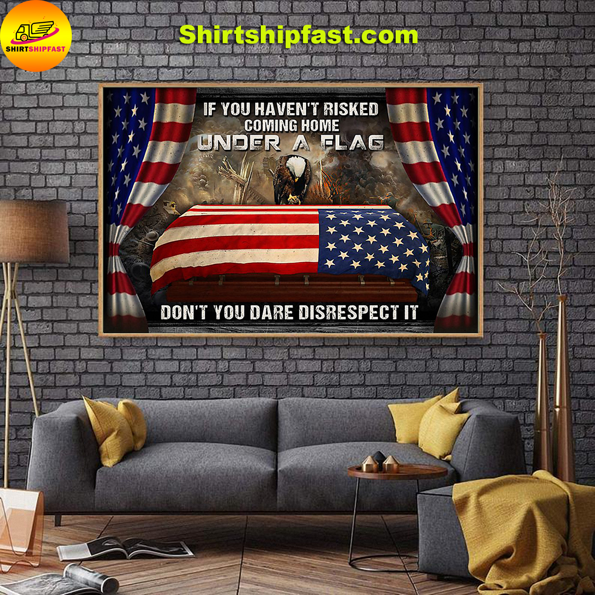 Eagle veteran under a flag poster - Picture 2