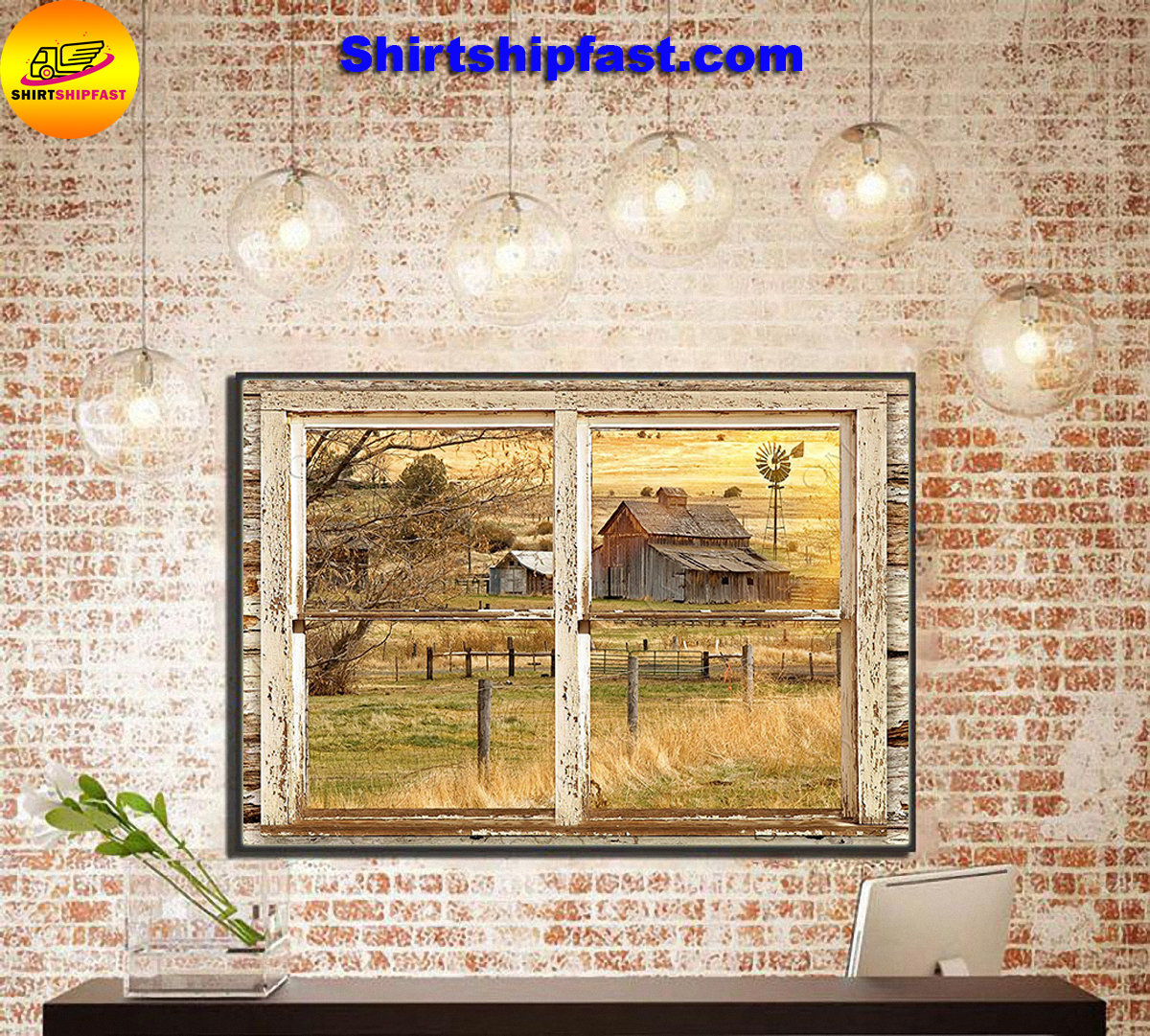 Farmhouse Rustic window with old barn canvas prints