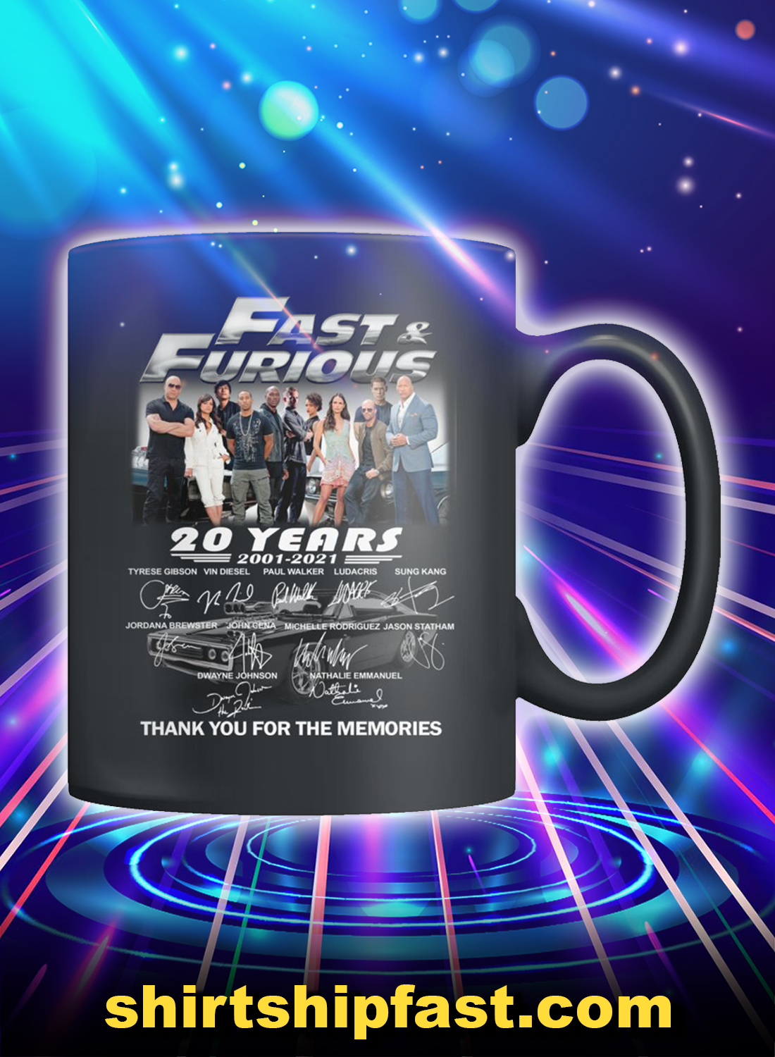 Fast and furious actors signature thank you for the memories mug