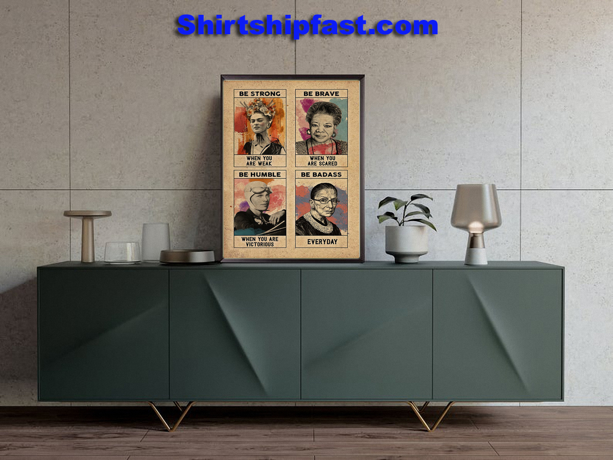 Feminist Frida Kahlo be strong be brave poster - Picture 1
