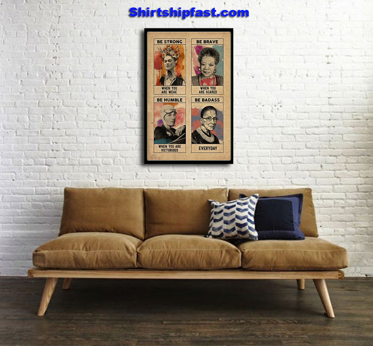 Feminist Frida Kahlo be strong be brave poster - Picture 2