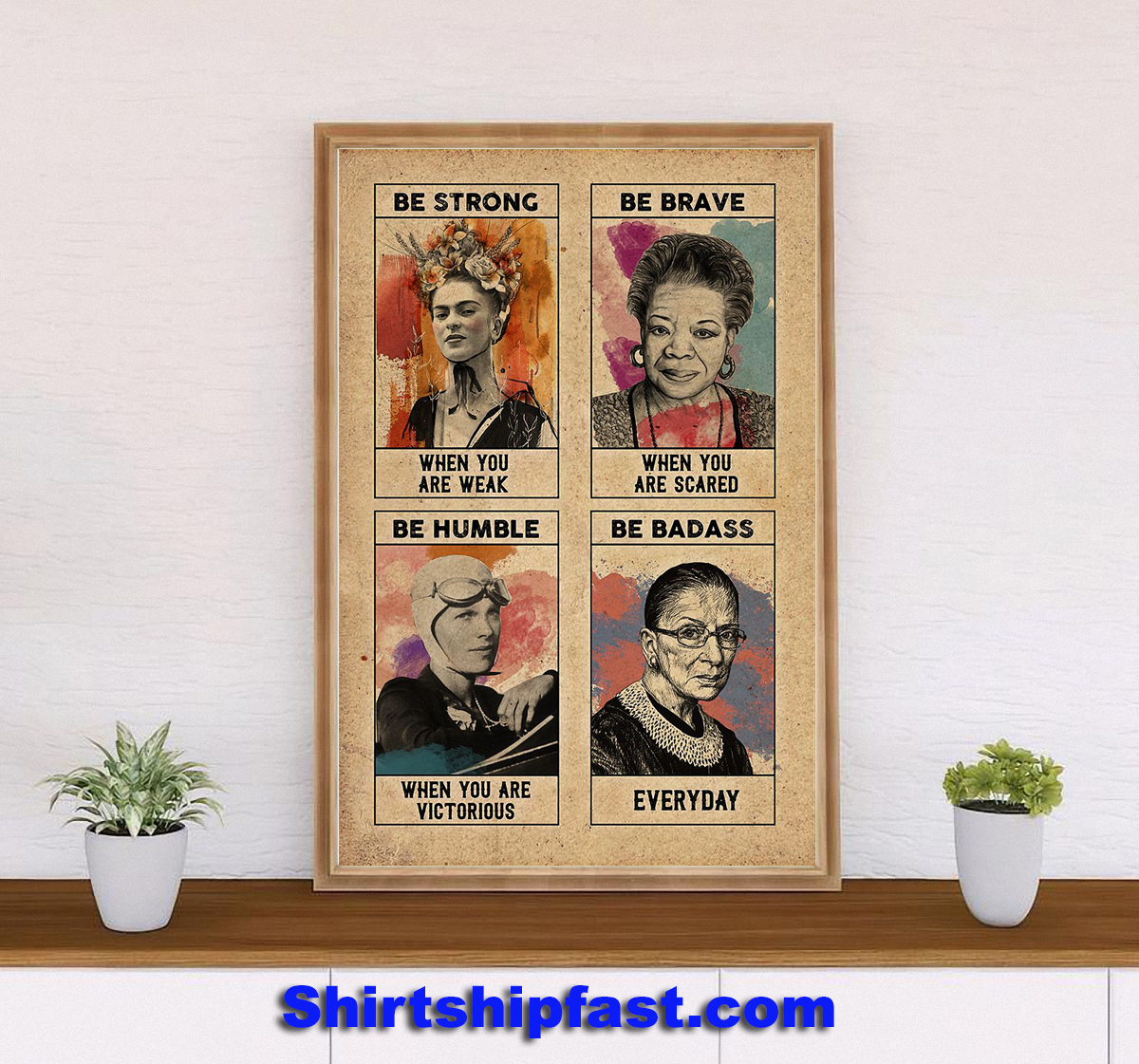 Feminist Frida Kahlo be strong be brave poster - Picture 3