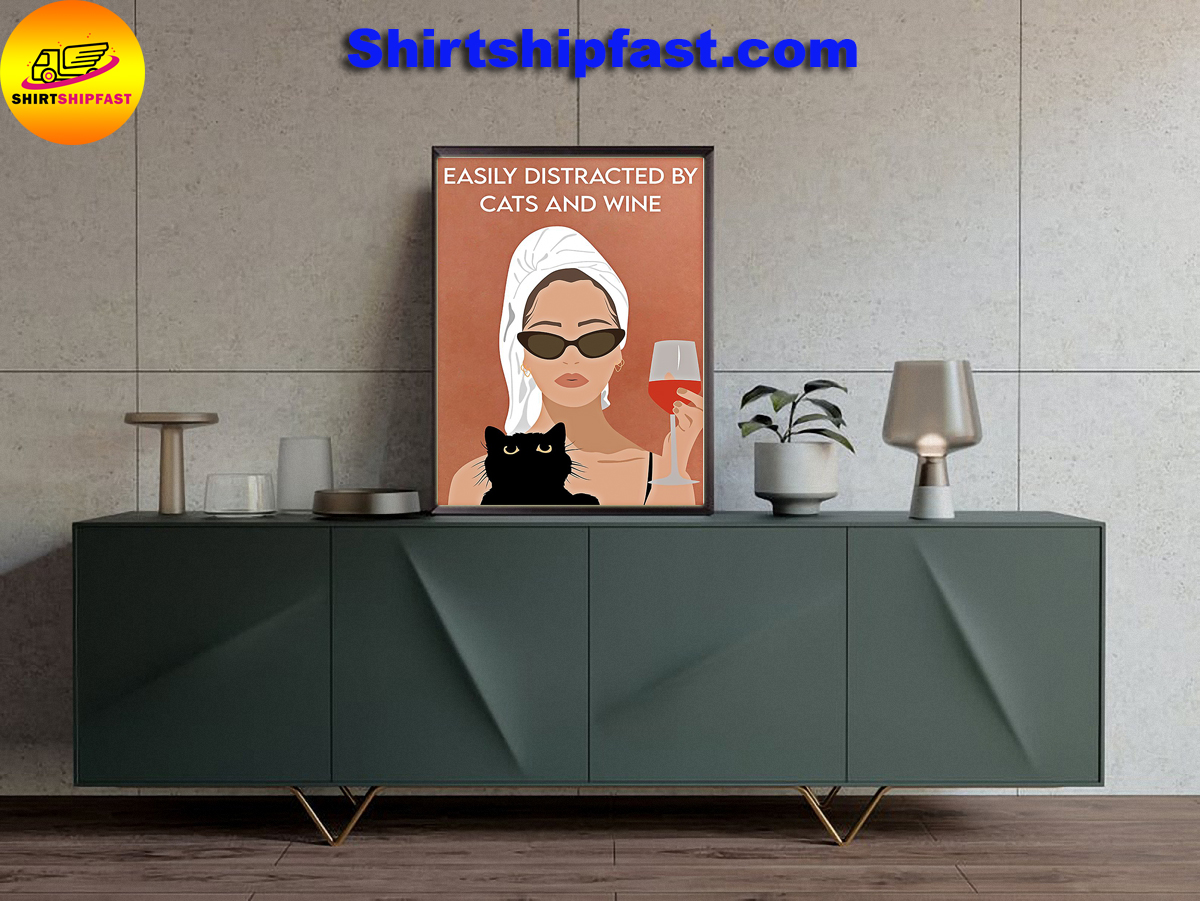 Girl bathing Easily distracted by cats and wine poster - Picture 3