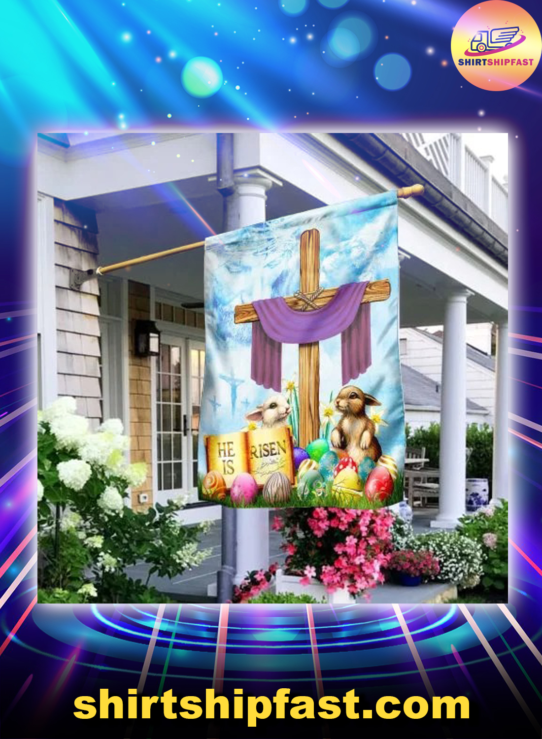 Happy easter he is risen flag - Picture 2