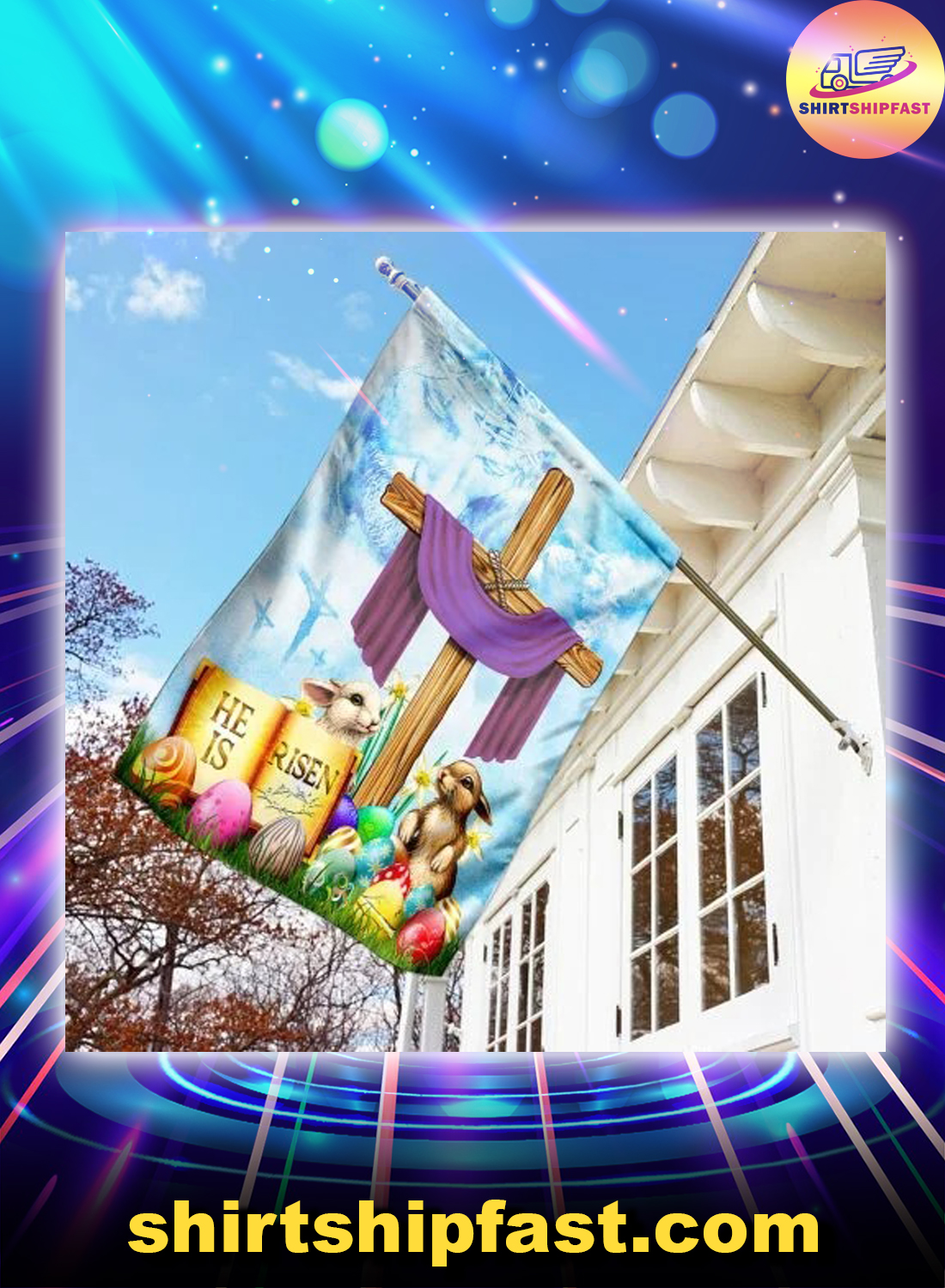 Happy easter he is risen flag - Picture 3