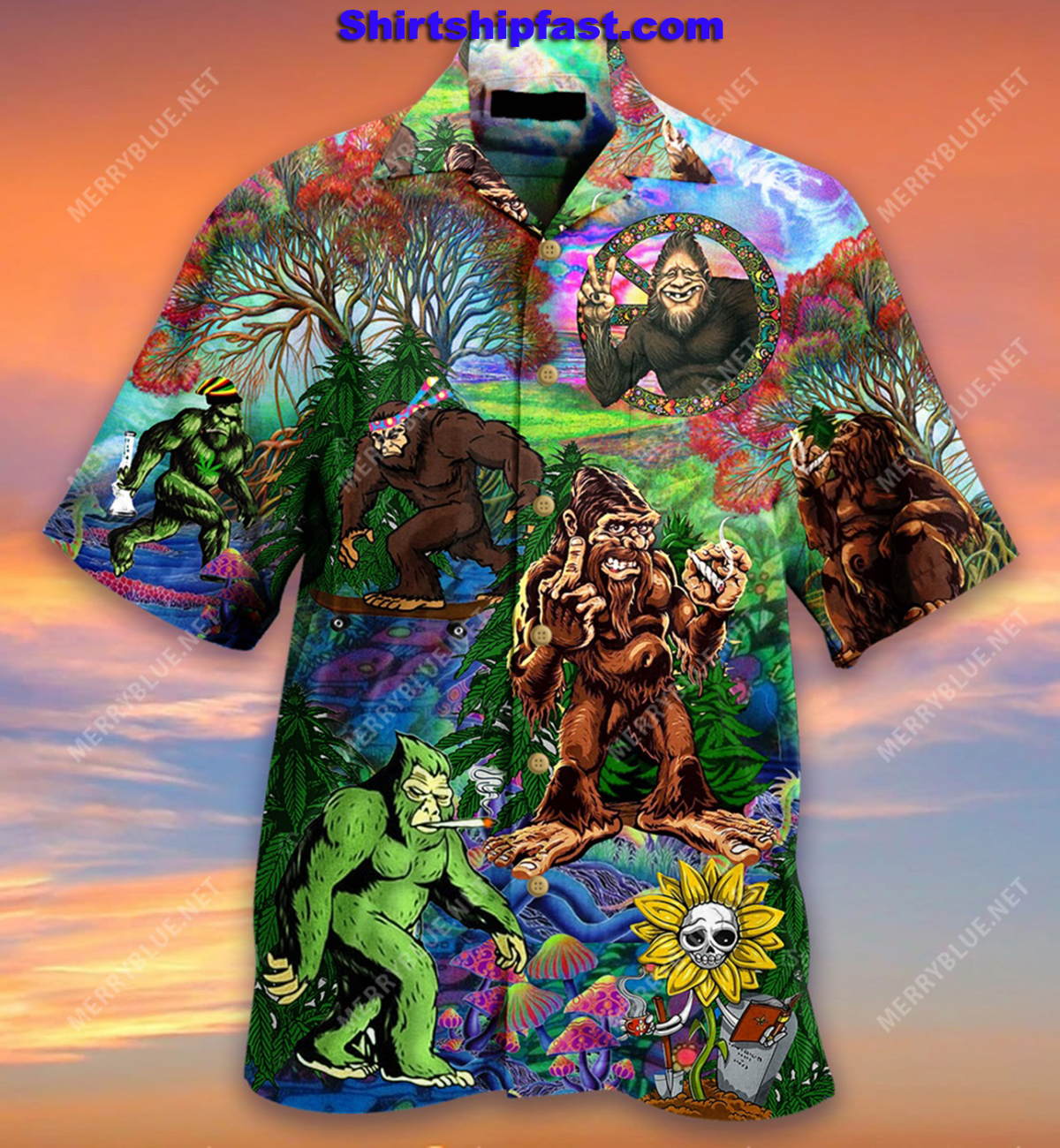 Hippie bigfoot keep it wild and free short sleeve shirt - Picture 2