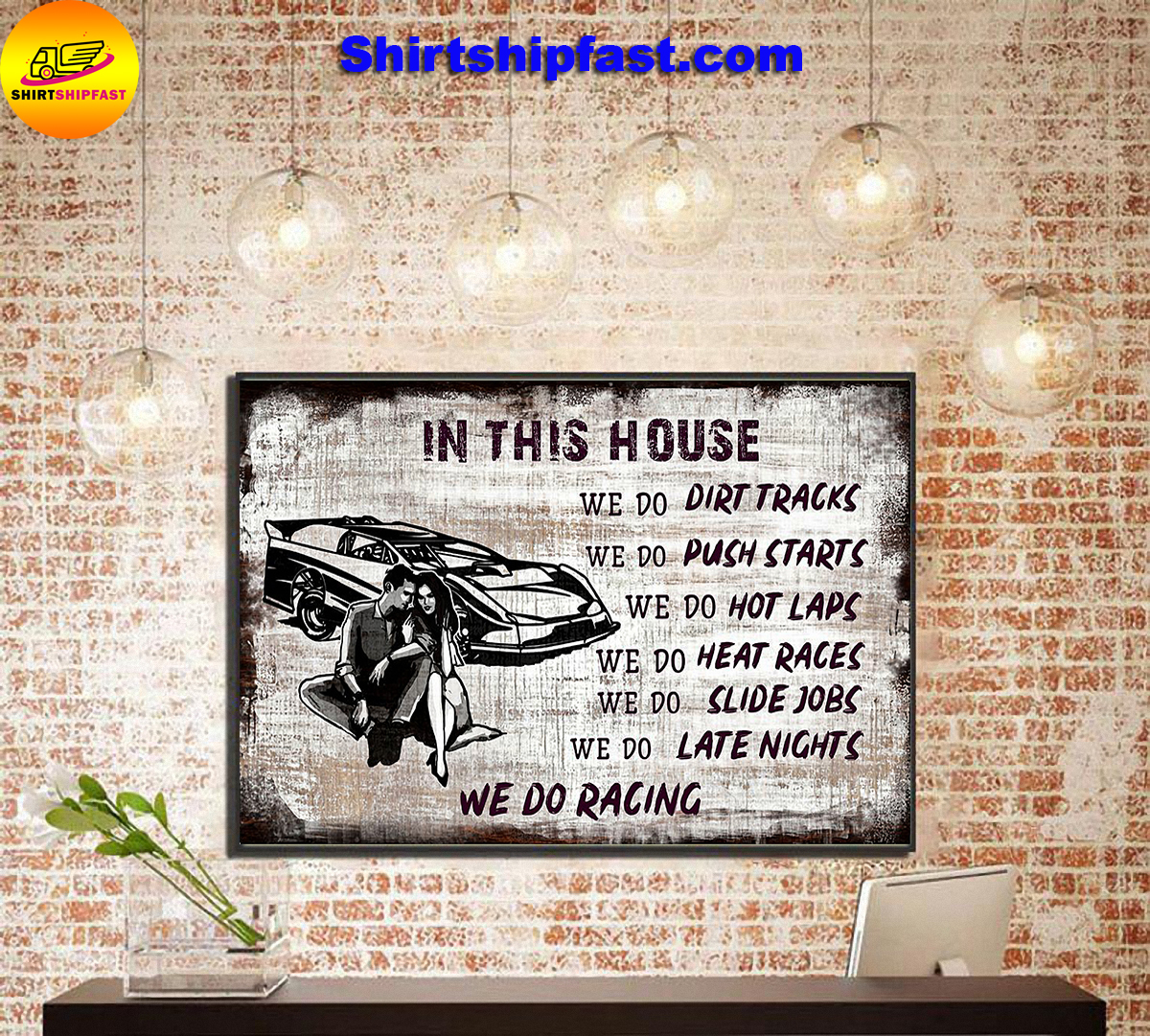 In this house we do dirt tracks we do racing poster - Picture 3