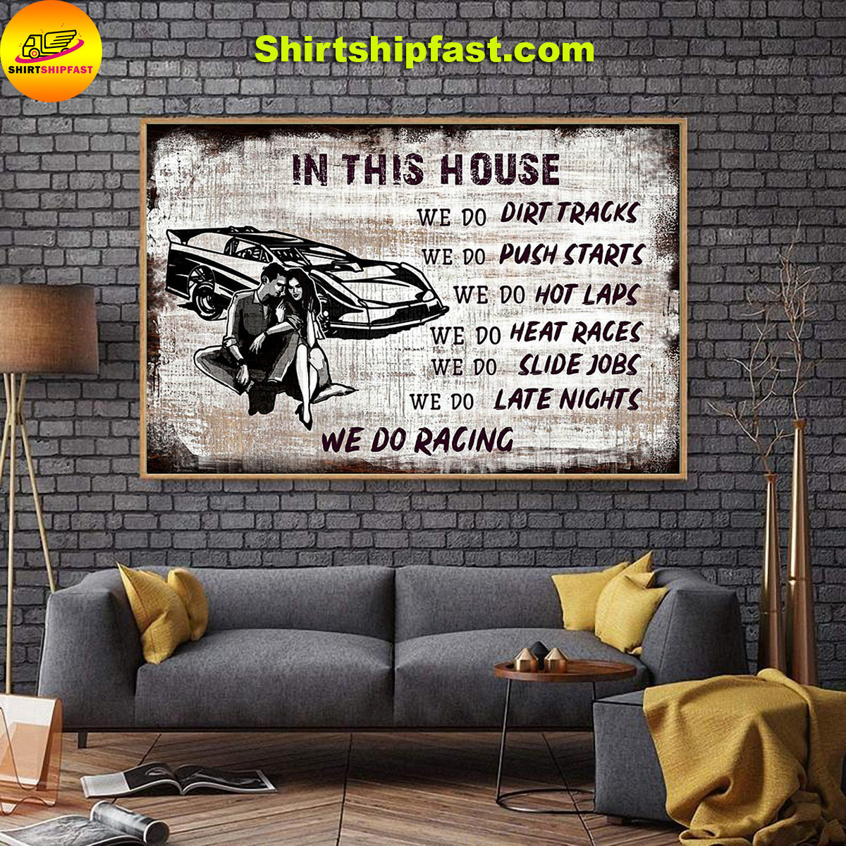 In this house we do dirt tracks we do racing poster