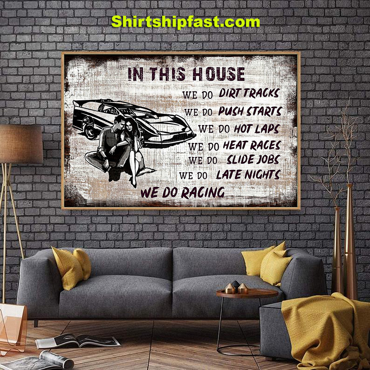 In this house we do racing poster - Picture 1