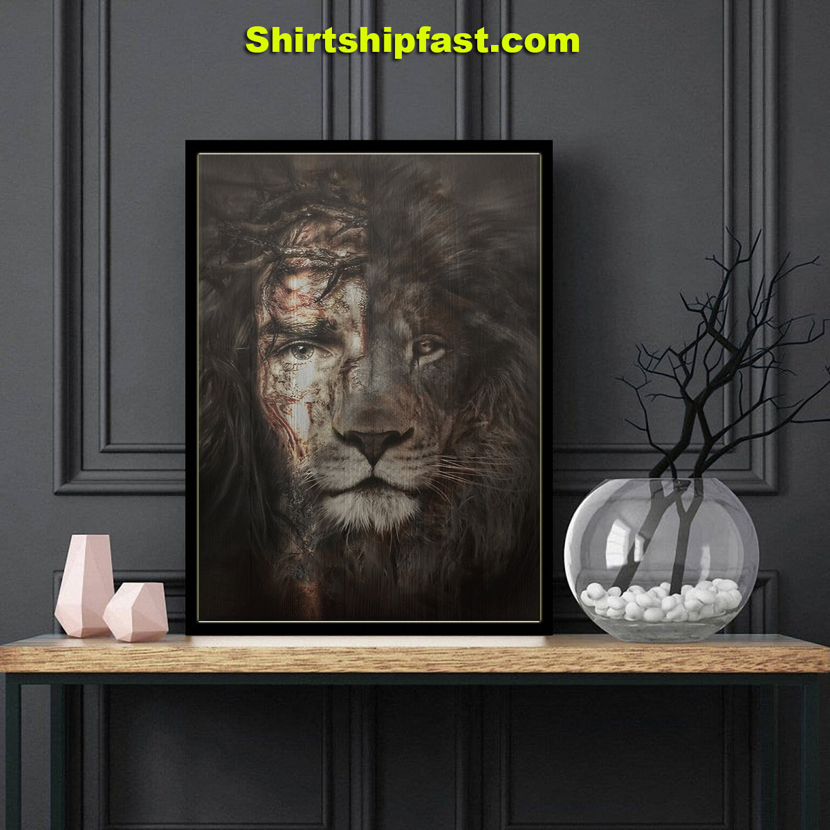 Jesus and lion the perfect combination canvas - Picture 2