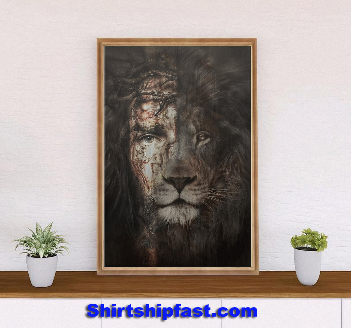 Jesus and lion the perfect combination canvas prints - Picture 1