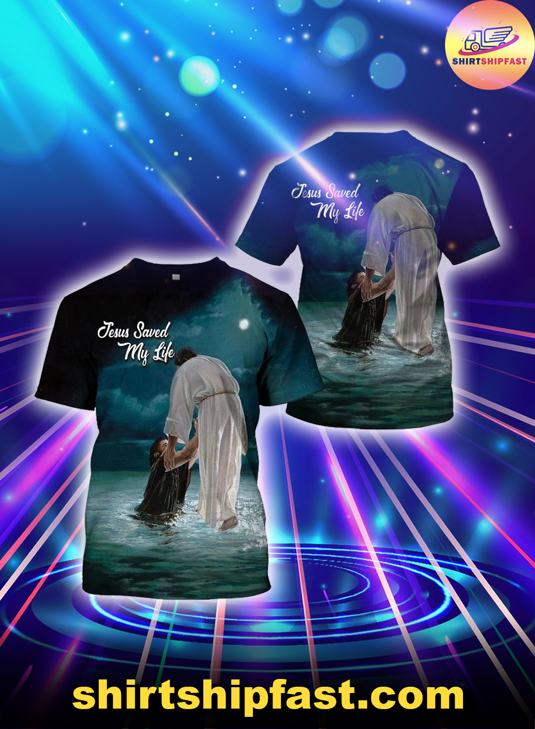 Jesus saved my life 3d all over printed t-shirt