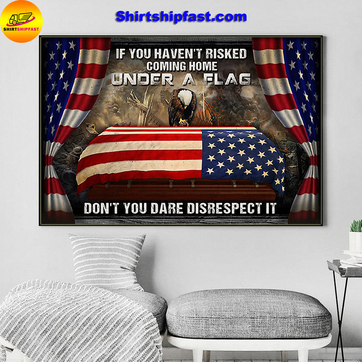 Memorial day eagle veteran under a flag poster - Picture 1