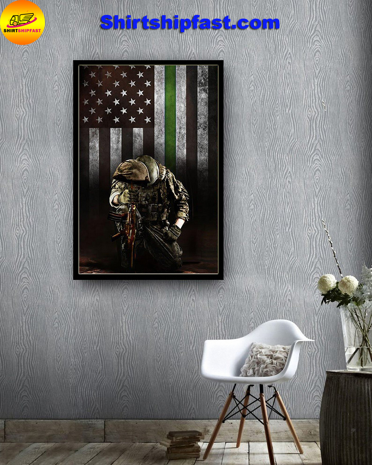 Military thin green line american flag veterans poster - Picture 1