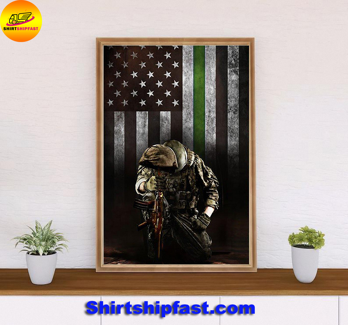 Military thin green line american flag veterans poster - Picture 2