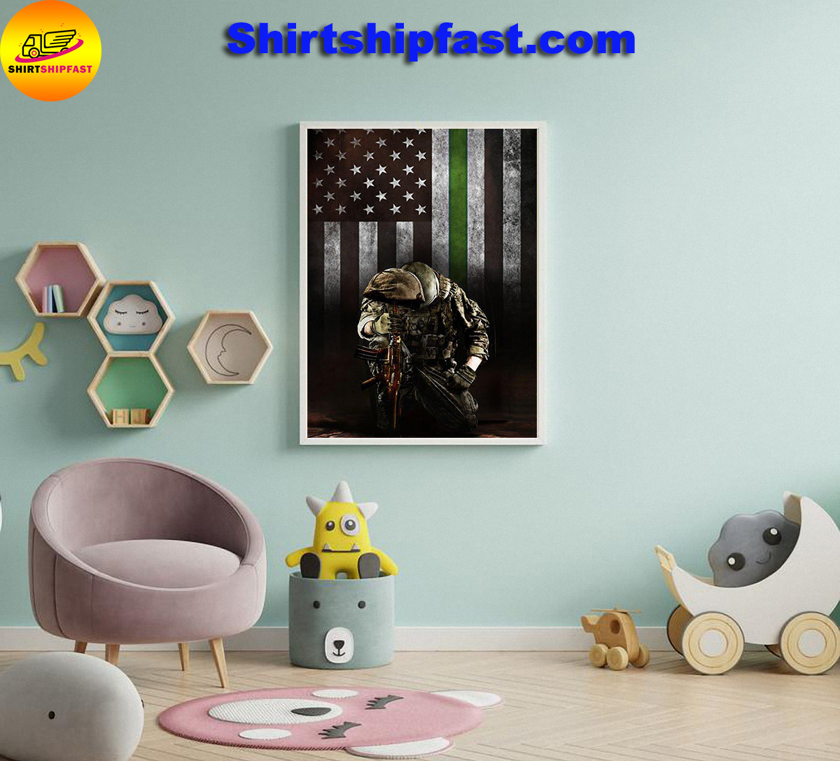 Military thin green line american flag veterans poster - Picture 3
