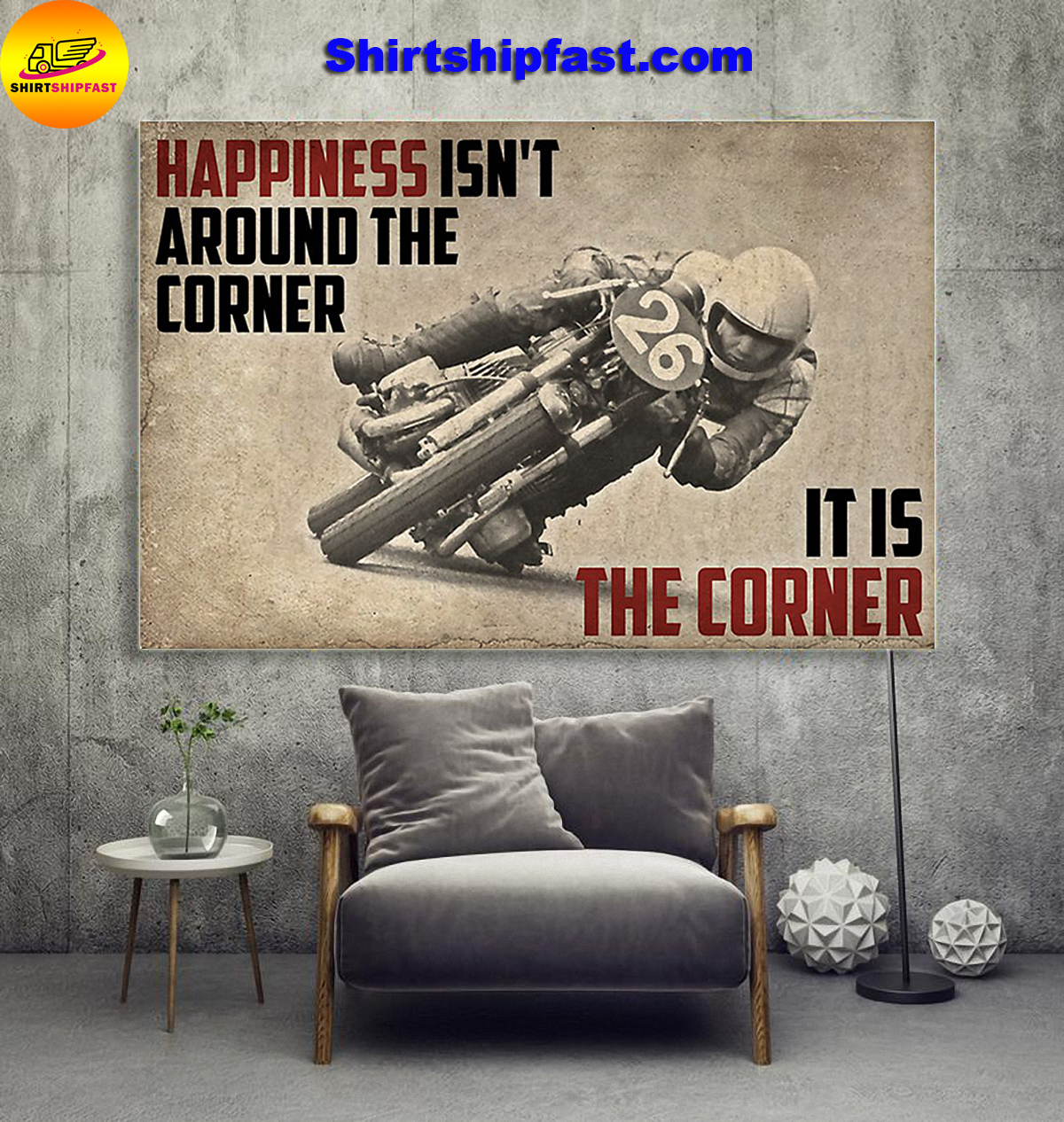 Motorcycle happiness isn't around the corner It is the corner canvas - Picture 2