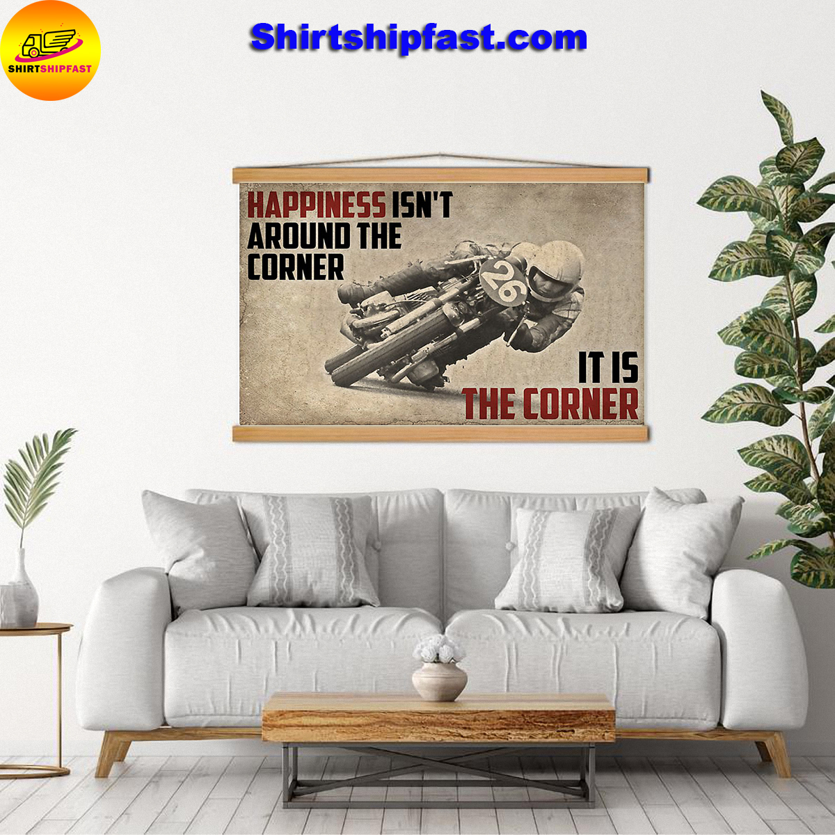 Motorcycle happiness isn't around the corner It is the corner canvas - Picture 3