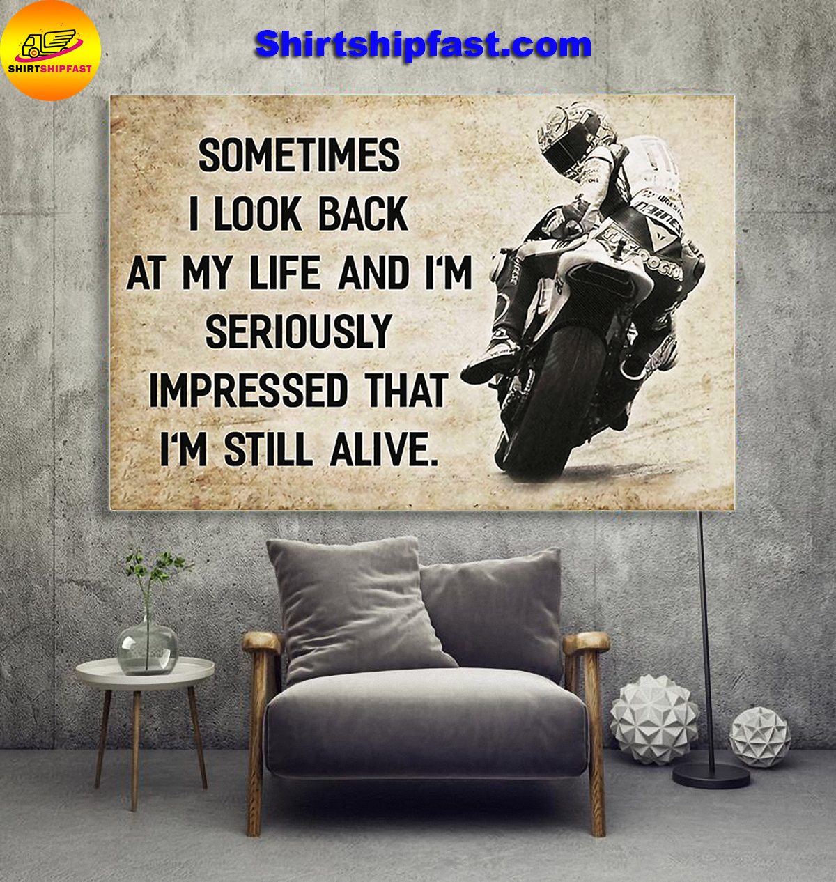 Motorcycle racing sometimes i look back at my life canvas prints - Picture 1