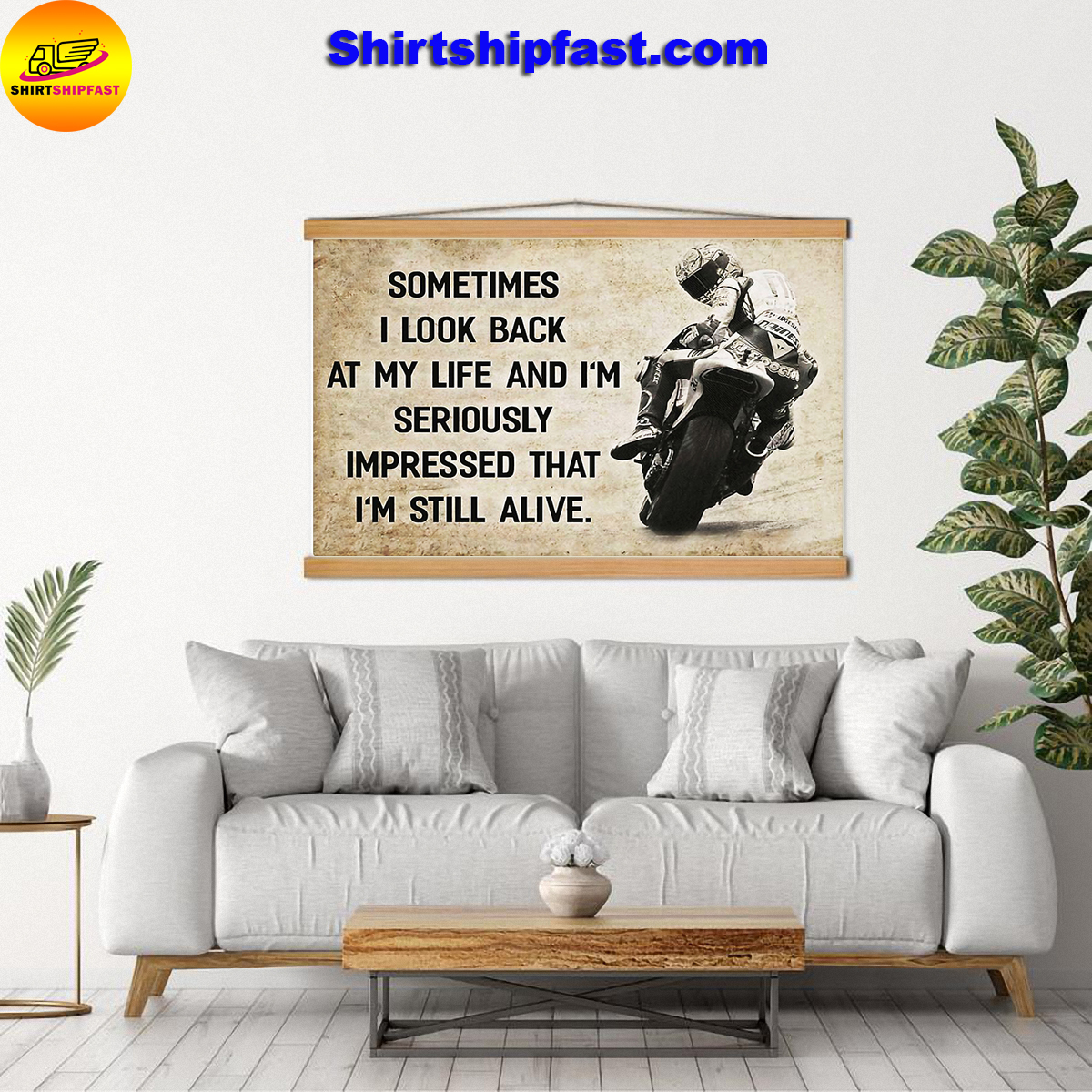 Motorcycle racing sometimes i look back at my life canvas prints - Picture 2