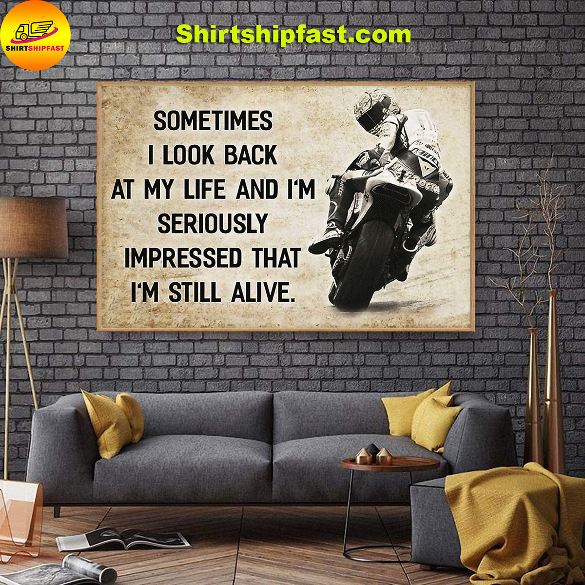 Motorcycle racing sometimes i look back at my life canvas prints - Picture 3