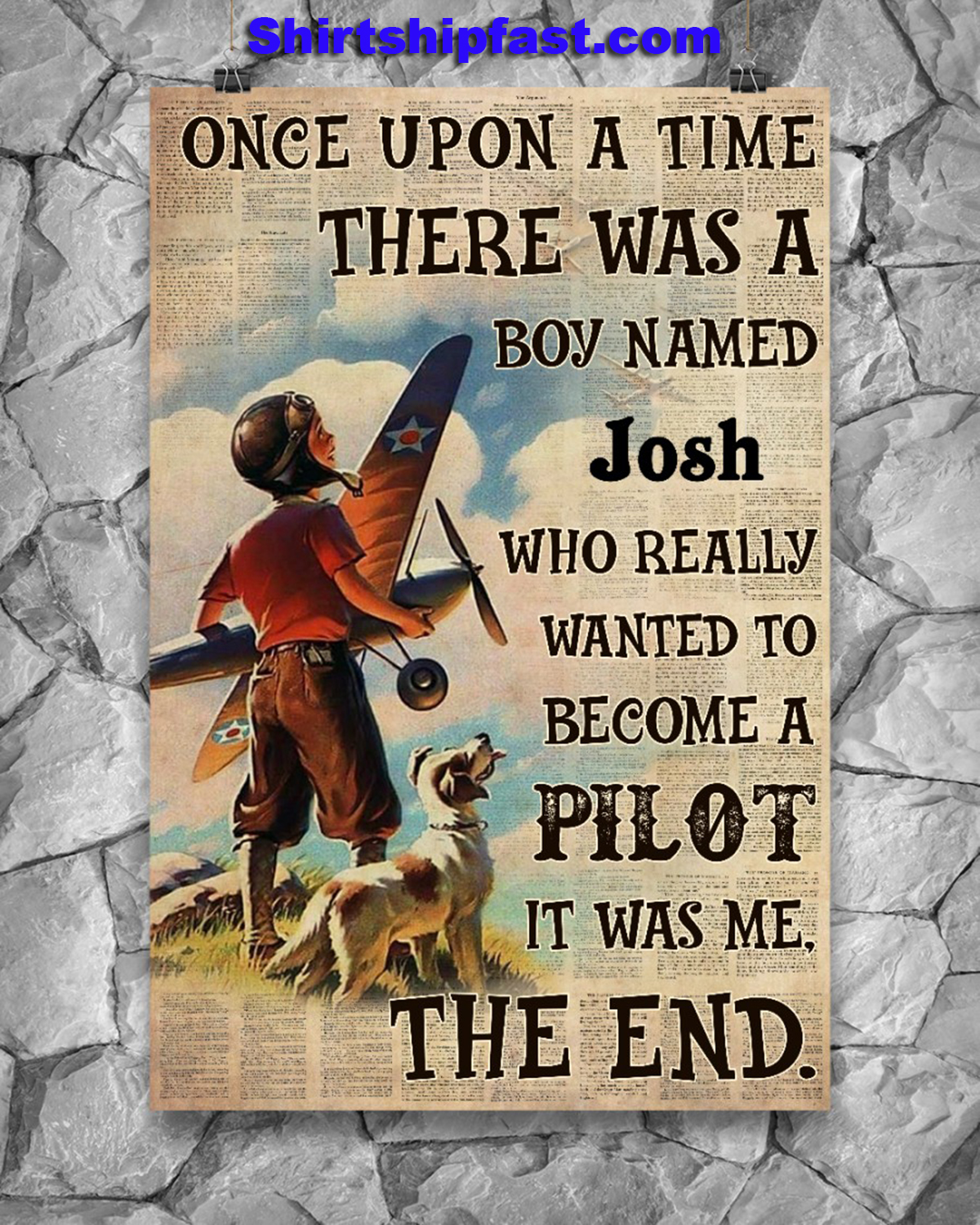 Personalize custom name Pilot Once upon a time there was a boy poster - Picture 1