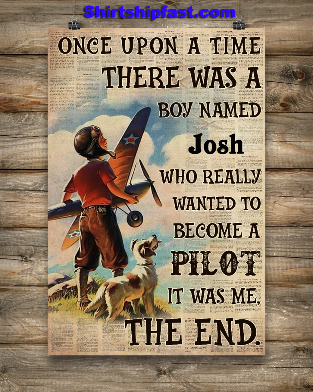 Personalize custom name Pilot Once upon a time there was a boy poster - Picture 2