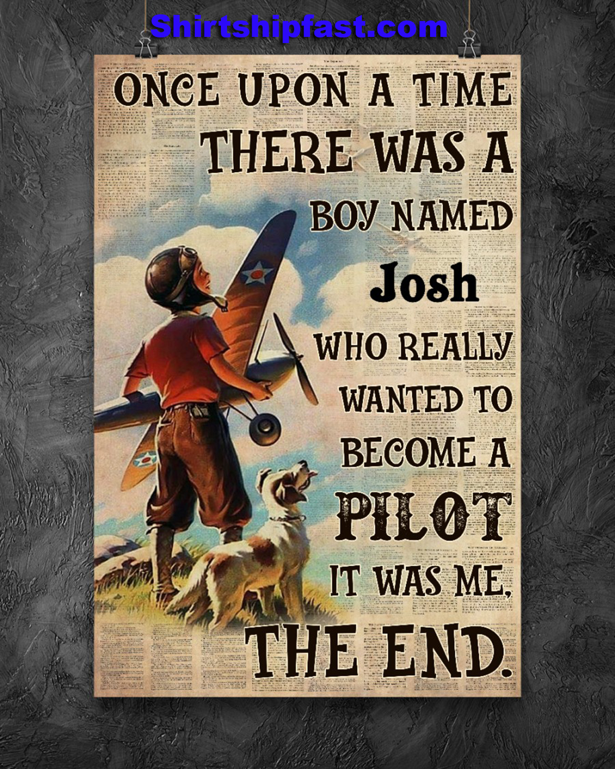 Personalize custom name Pilot Once upon a time there was a boy poster