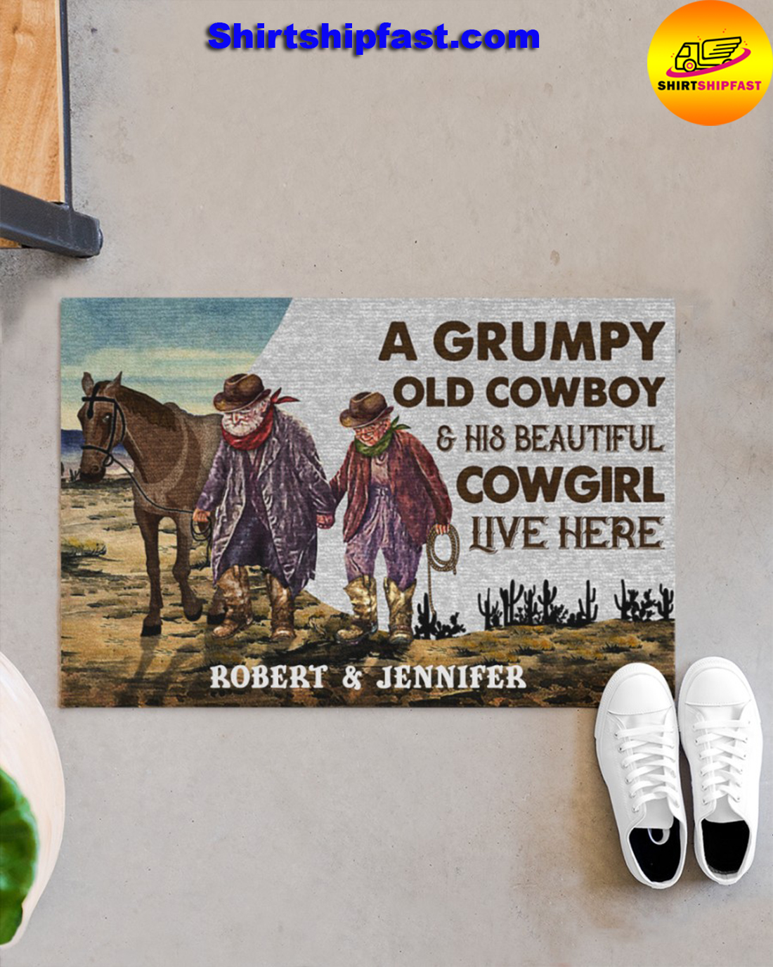 Personalized A grumpy old cowboy and his beautiful cowgirl live here doormat - Picture 1