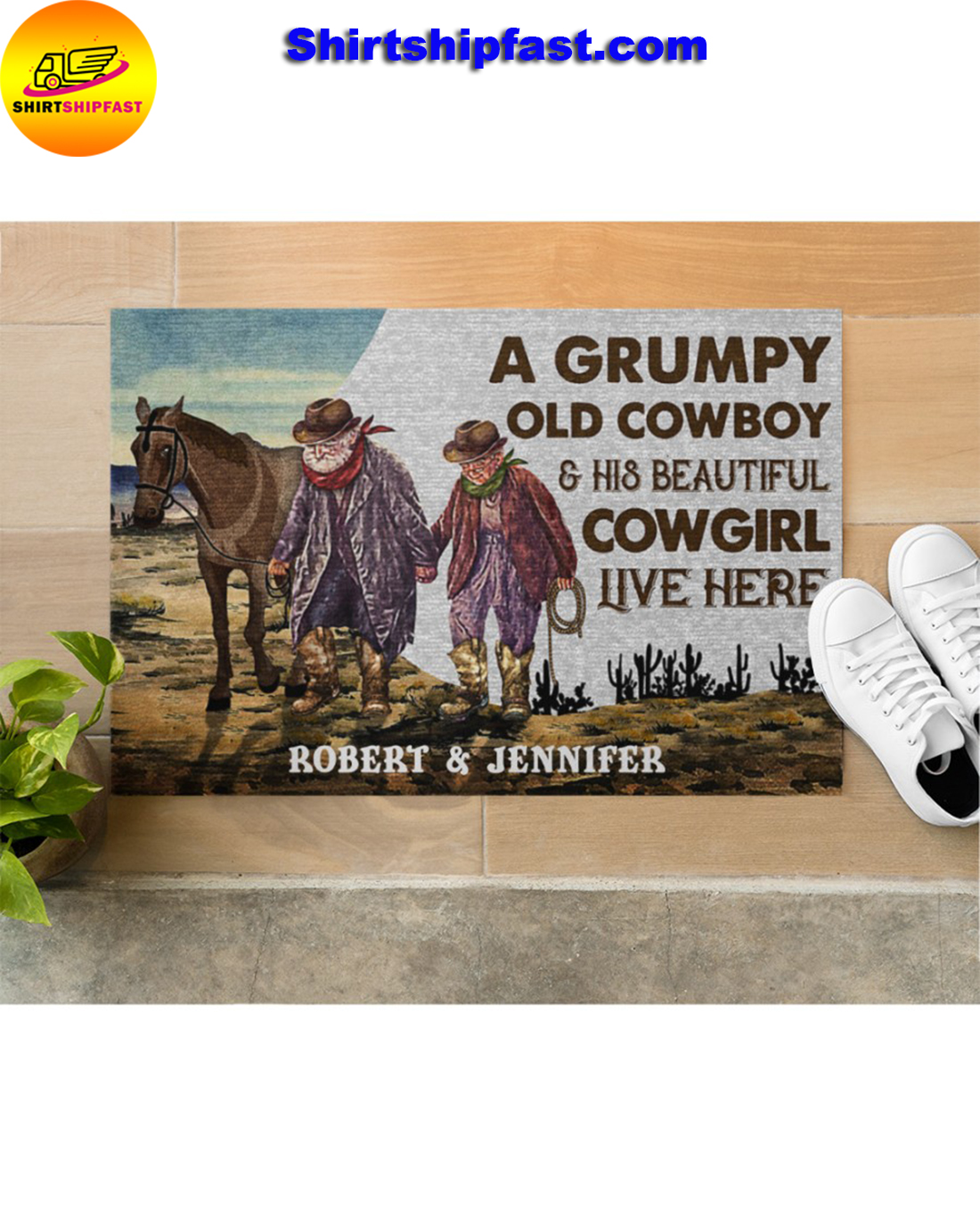 Personalized A grumpy old cowboy and his beautiful cowgirl live here doormat - Picture 3