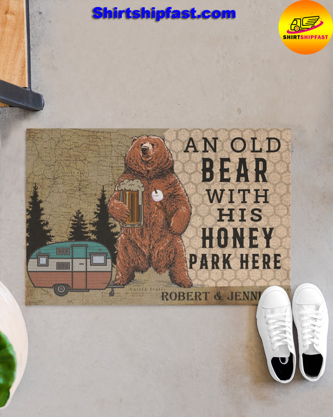 Personalized Camping an old bear with his honey park here doormat - Picture 1