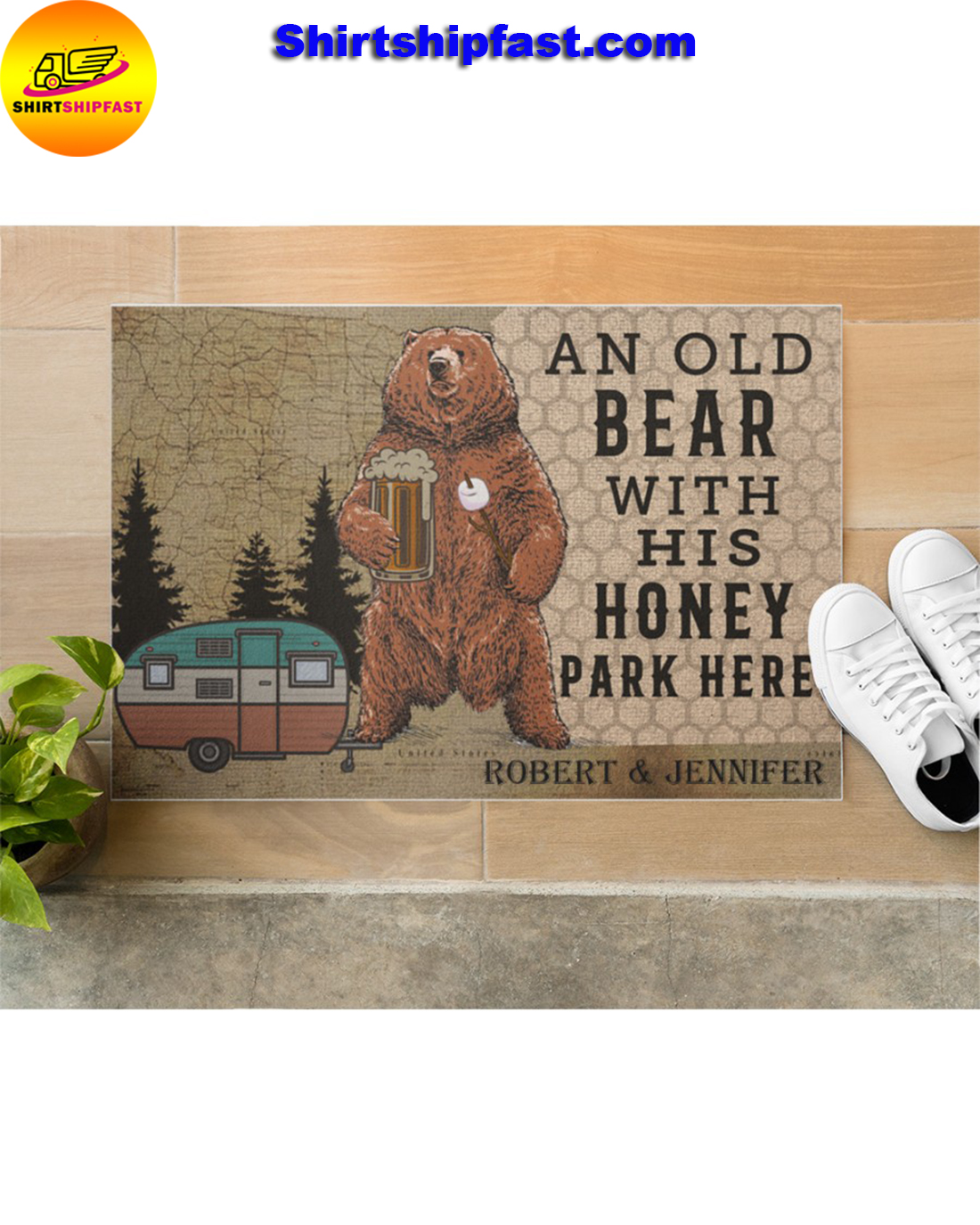 Personalized Camping an old bear with his honey park here doormat - Picture 3