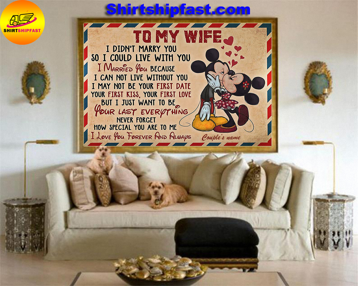 Personalized Mickey minnie kissing to my wife I love you forever and always canvas