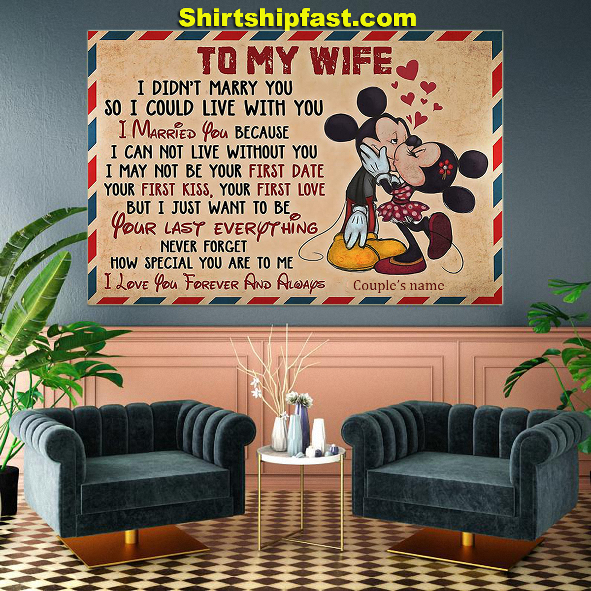 Personalized Mickey minnie kissing to my wife air mail canvas - Picture 2