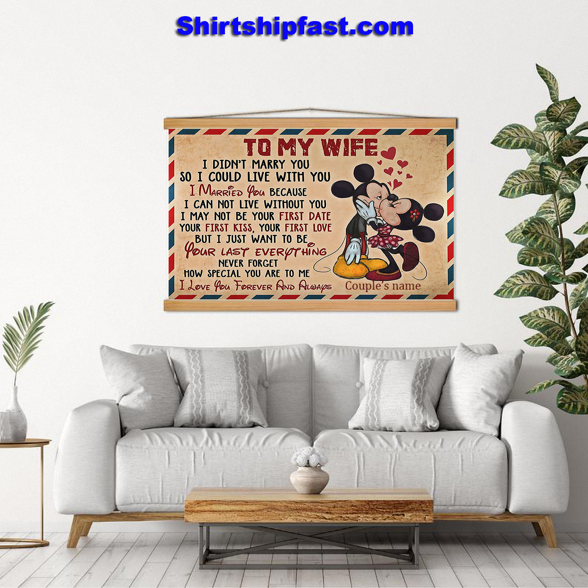 Personalized Mickey minnie kissing to my wife air mail canvas - Picture 3