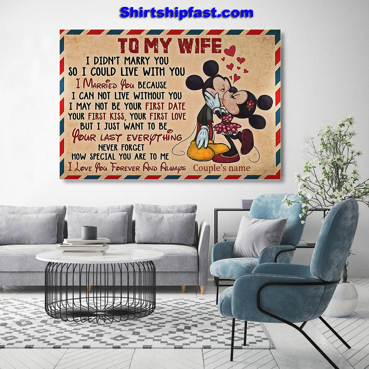 Personalized Mickey minnie kissing to my wife air mail canvas