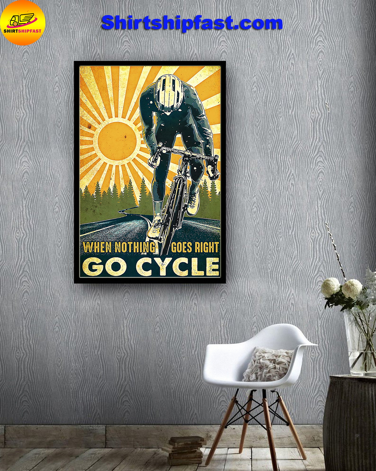 Poster Cycling when nothing goes right go cycle - Picture 1