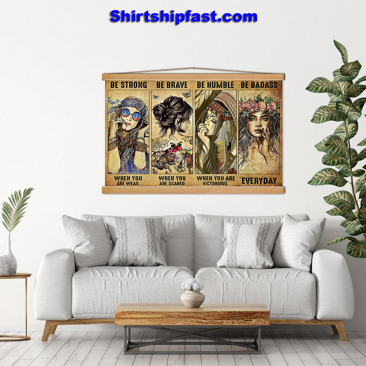 Poster Hippie be strong be brave be humble be badass - Picture 1