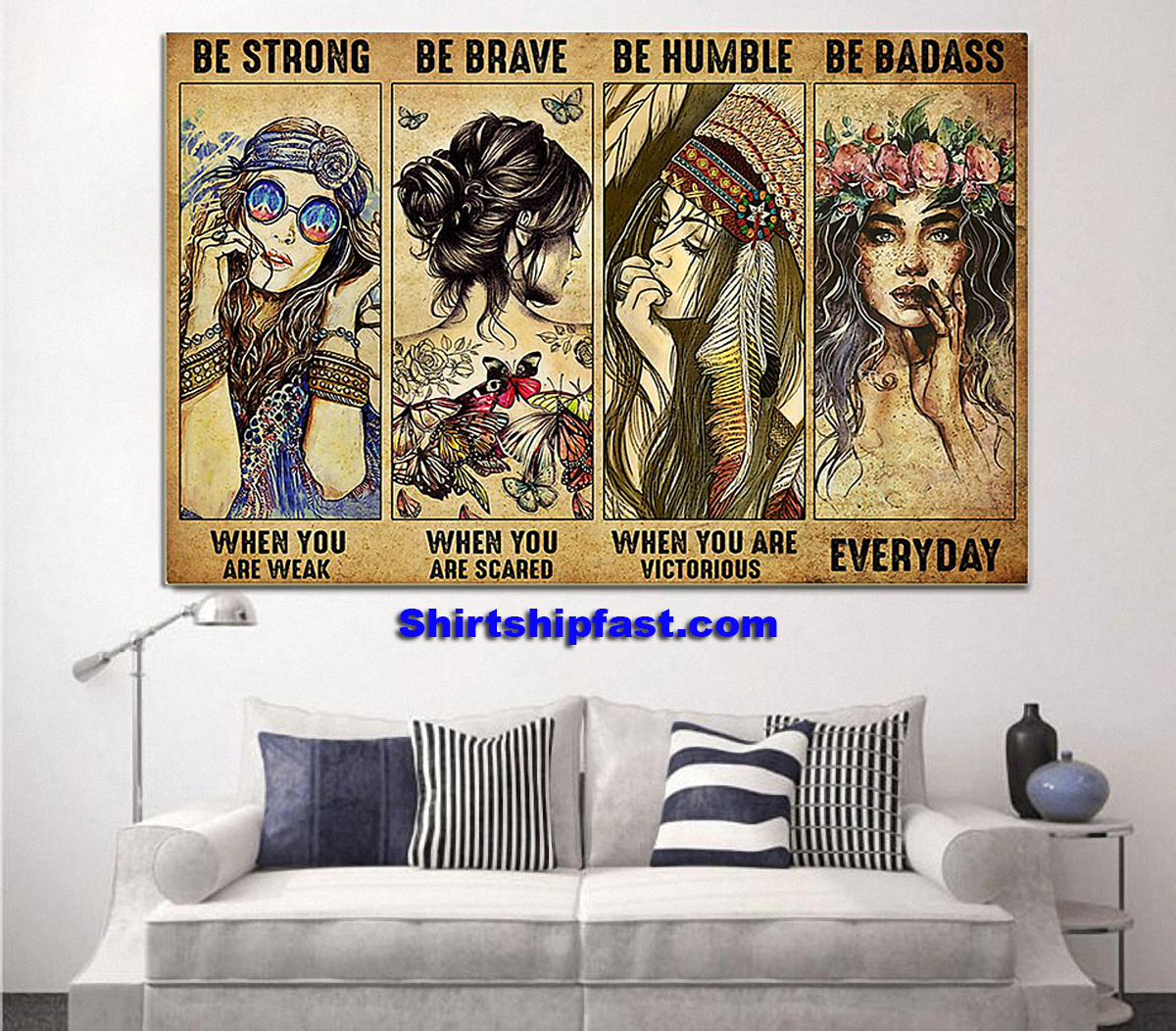 Poster Hippie be strong be brave be humble be badass - Picture 3