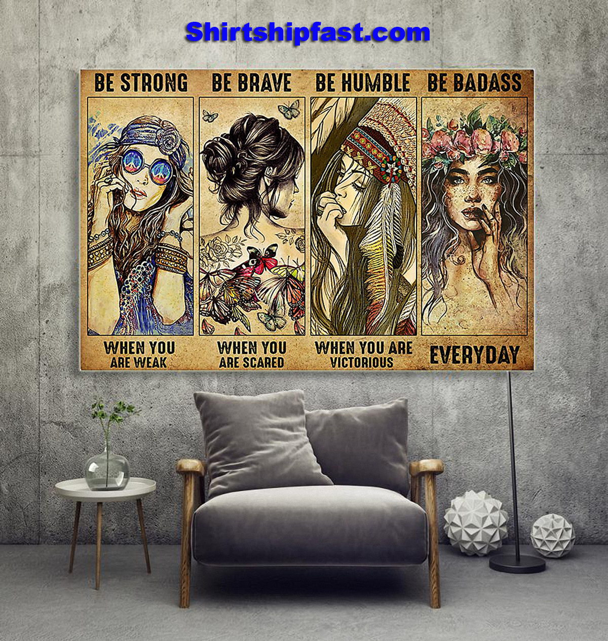 Poster Hippie be strong be brave be humble be badass