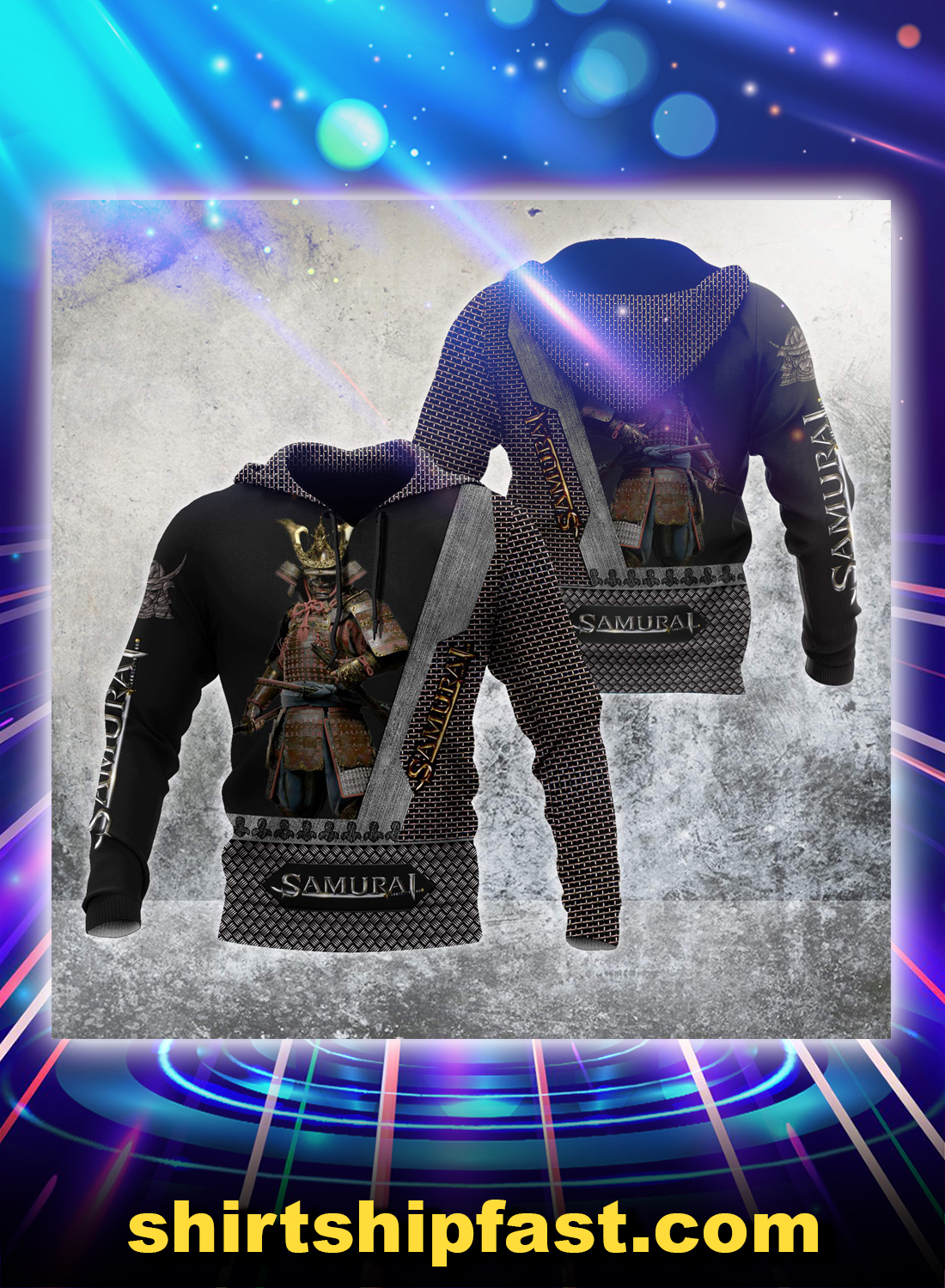 Samurai all over printed hoodie and t-shirt