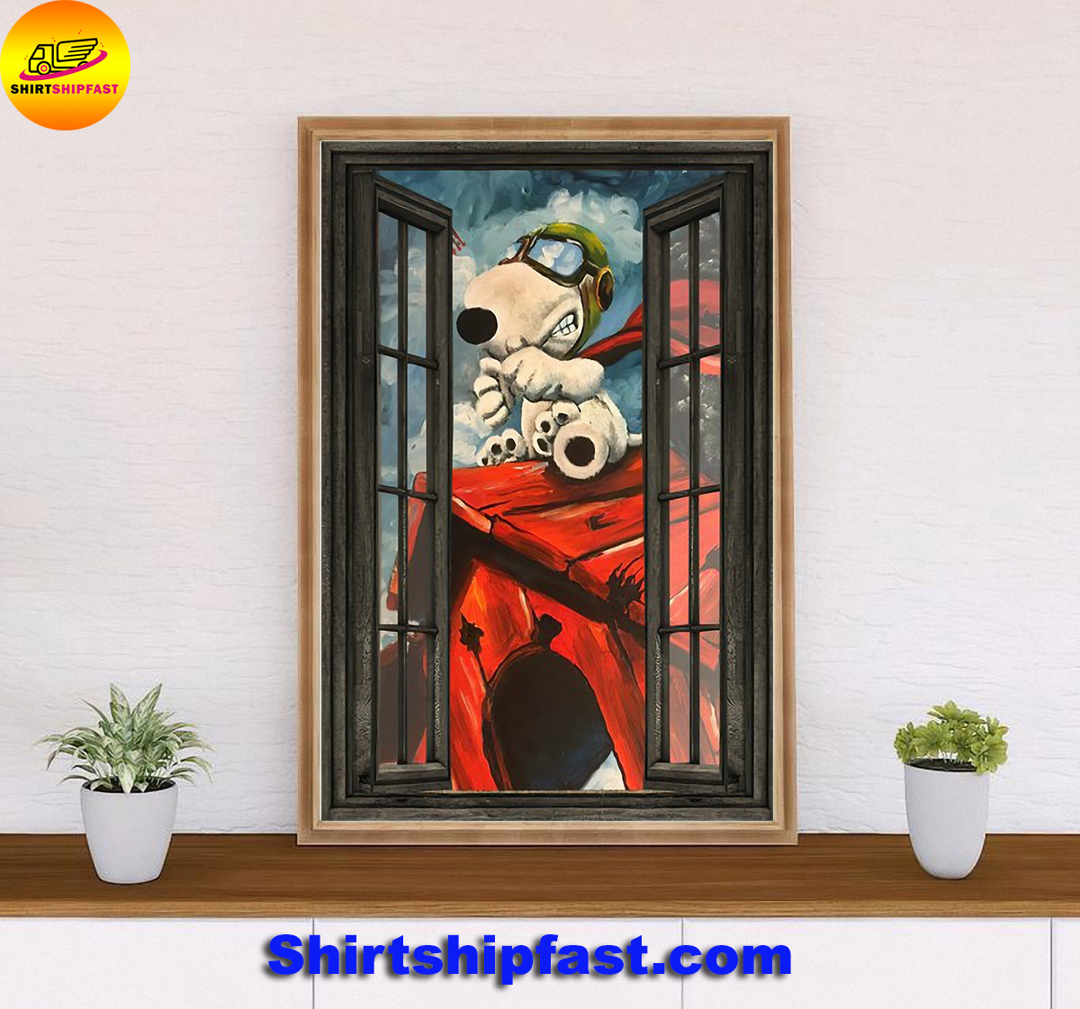 Snoopy flying ace window poster - Picture 1