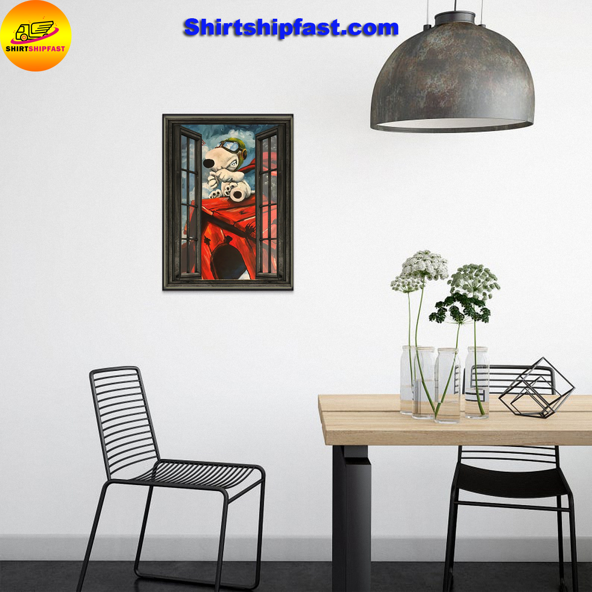 Snoopy flying ace window poster