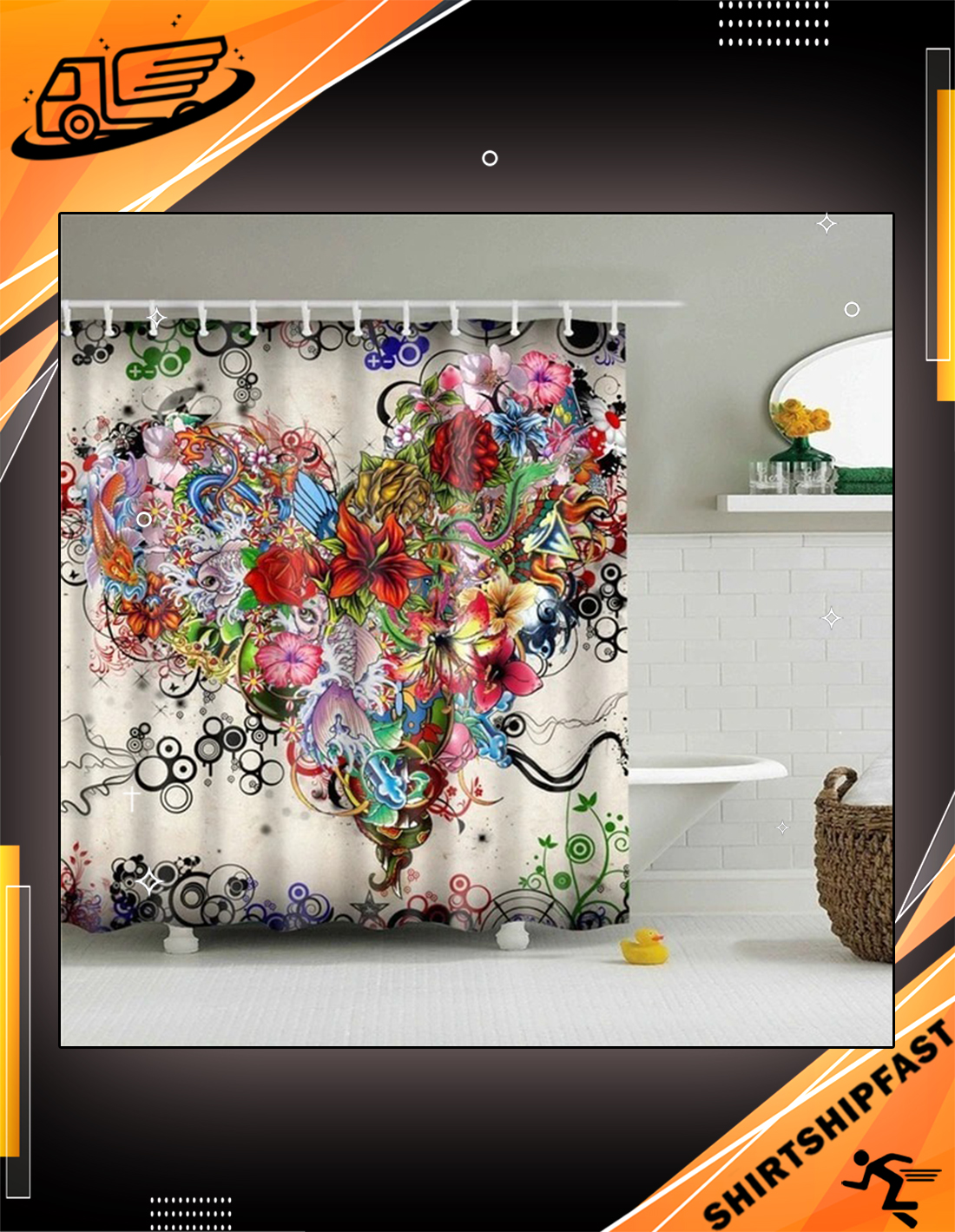 Tattoo flowers fabric shower curtain - Picture 3