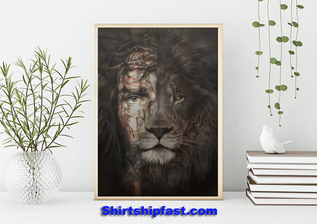 The perfect combination Jesus and lion canvas - Picture 1